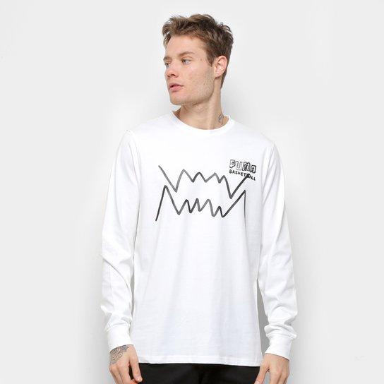 Camiseta Manga Longa Puma Bite LS Masculina - Branco