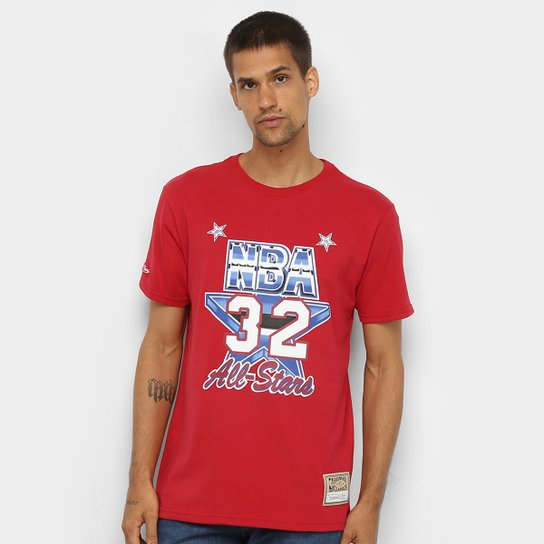 Camiseta Mitchell & Ness All Star Game Masculina - Vermelho