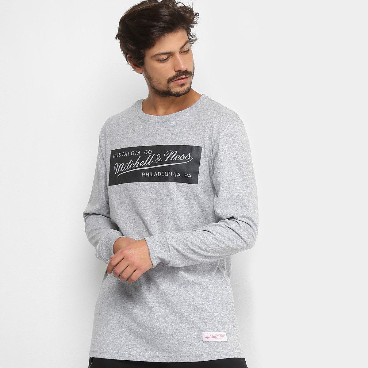 Camiseta Mitchell   Ness Box Logo Manga Longa Masculina - Compre Agora  1cb131dfa70