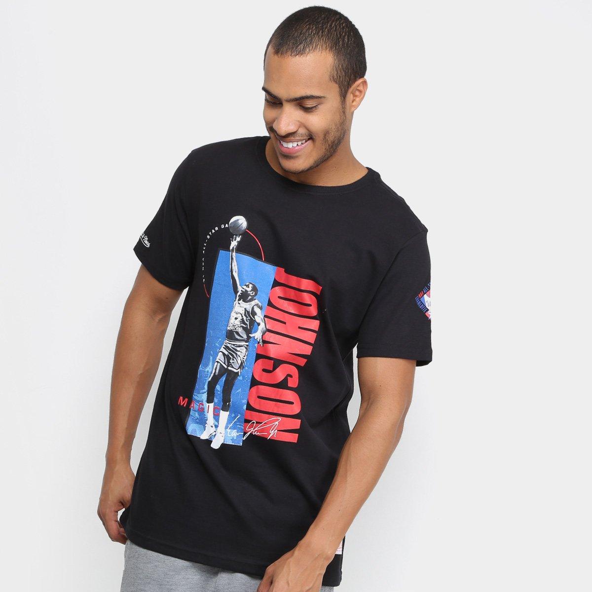 7867e20dd Camiseta Mitchell   Ness NBA Magic Johnson Masculina - Preto - Compre Agora