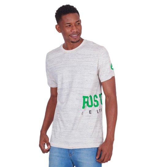 Camiseta NBA Boston Celtics Logo Lateral Masculina - Cinza Claro