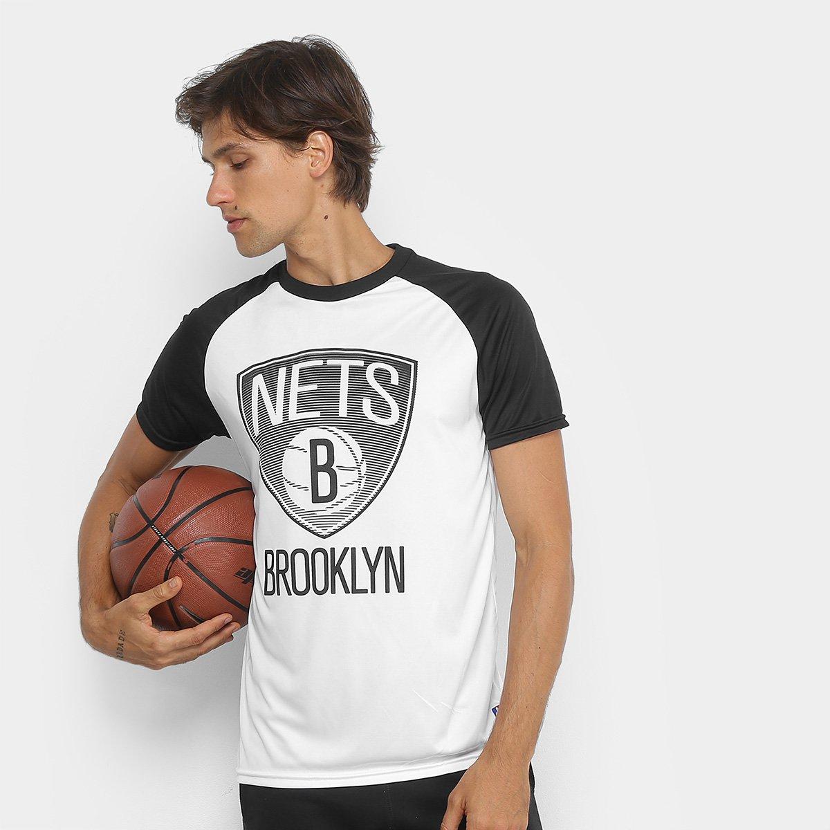 f6b6d6493 Camiseta NBA Brooklyn Nets Masculina - Branco e Preto - Compre Agora ...