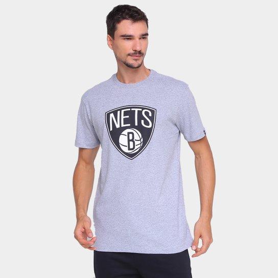 Camiseta NBA Brooklyn Nets New Era Logo Masculina - Mescla