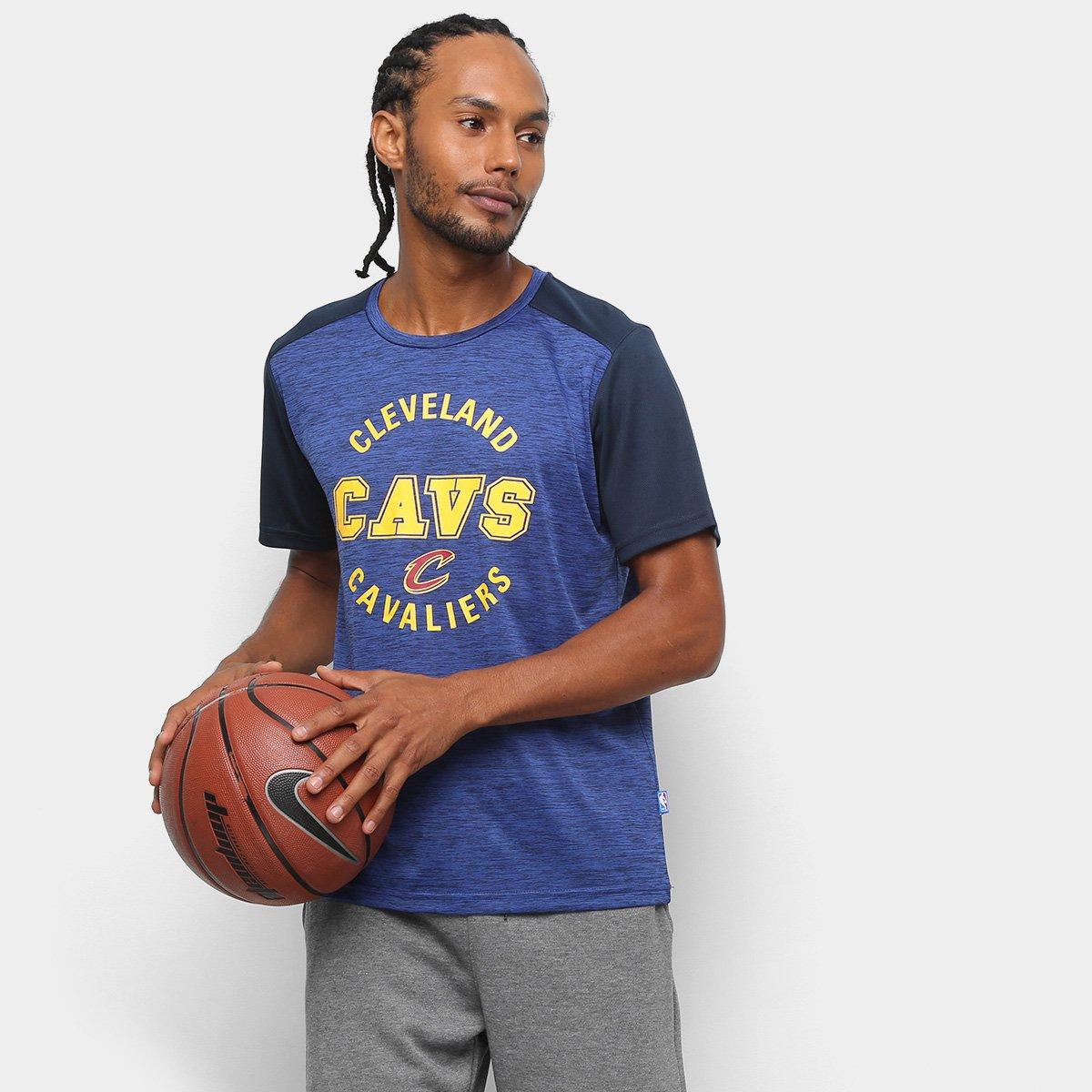 Camiseta NBA Cavaliers Fio Tinto Mesh 17 Masculina - Marinho e Cinza ... 83406a12a27f1