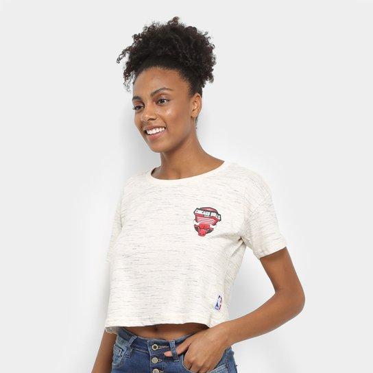 Camiseta NBA Chicago Bulls Cropped Shield Feminina - Areia