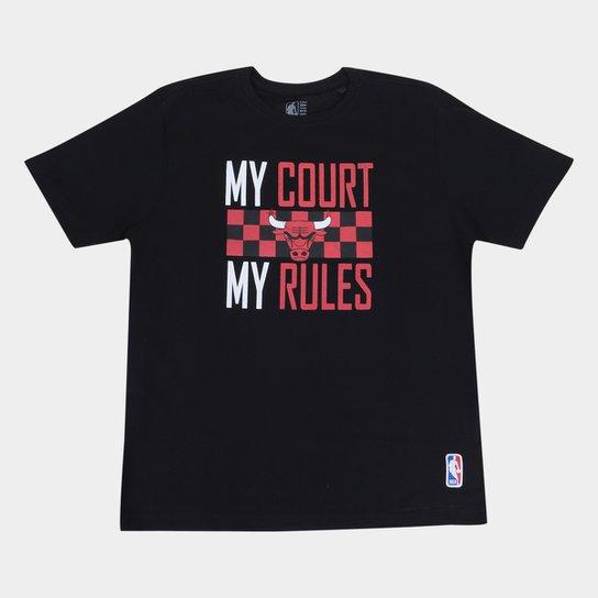Camiseta NBA Chicago Bulls Juvenil Masculina - Preto