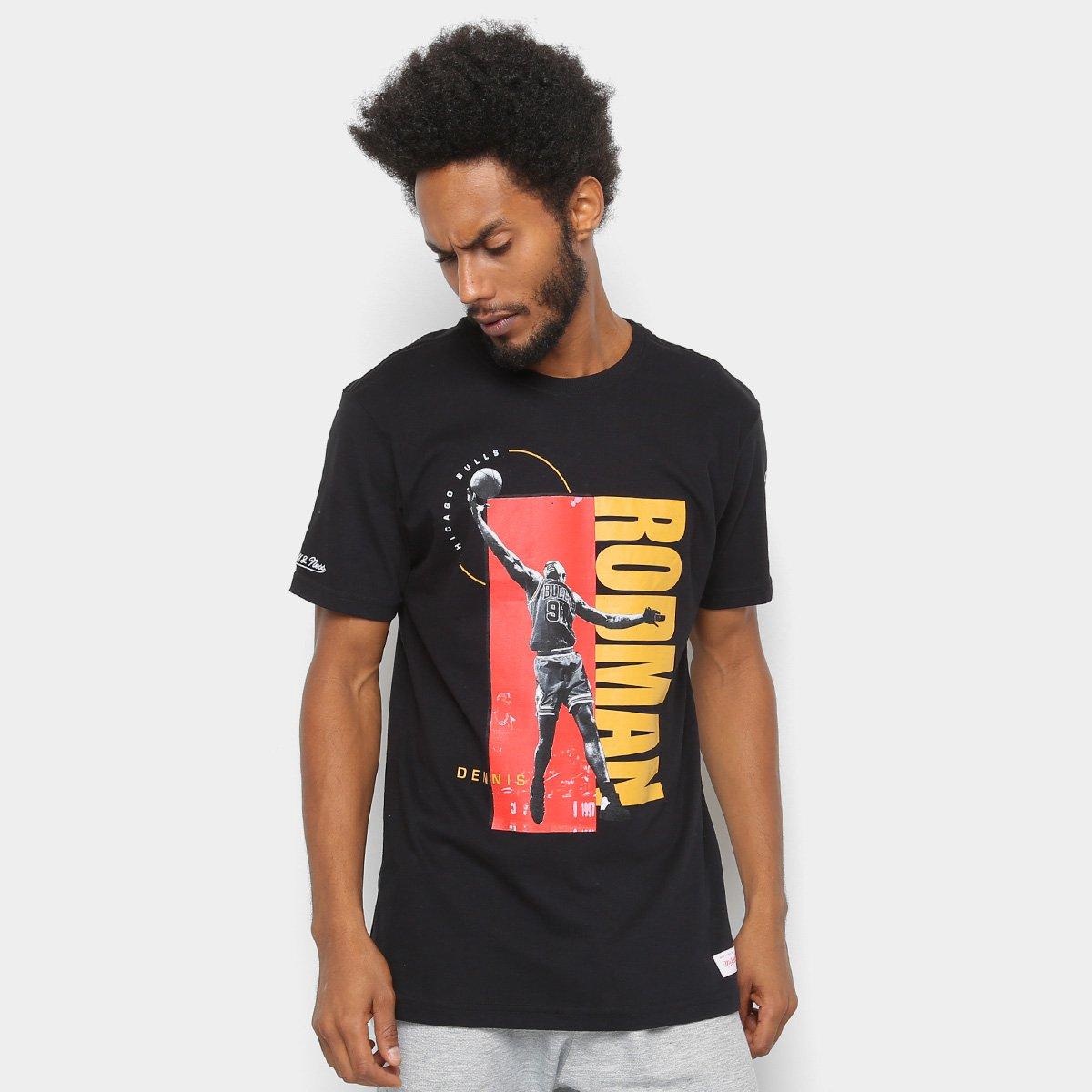 3cfdc4148 Camiseta NBA Chicago Bulls Mitchell   Ness Rodman Masculina - Preto - Compre  Agora