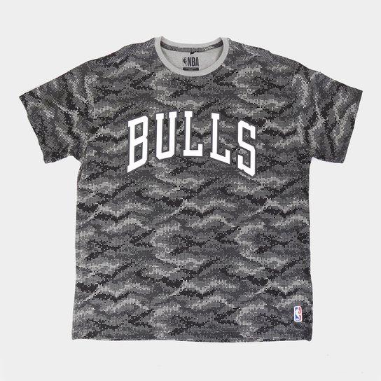 Camiseta NBA Chicago Bulls Pixel Plus Size Masculina - Cinza