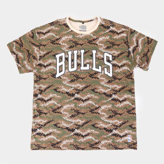 Camiseta NBA Chicago Bulls Pixel Plus Size Masculina - Marrom