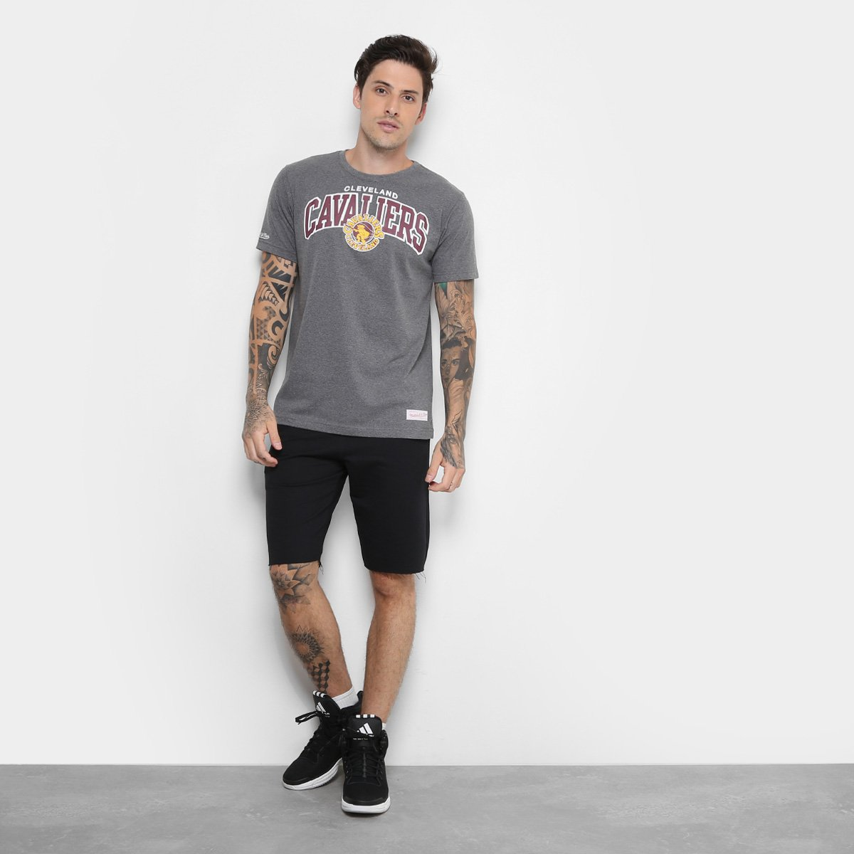 ... Camiseta NBA Cleveland Cavaliers Mitchell   Ness Team Masculina ... 29c4b59d3b797