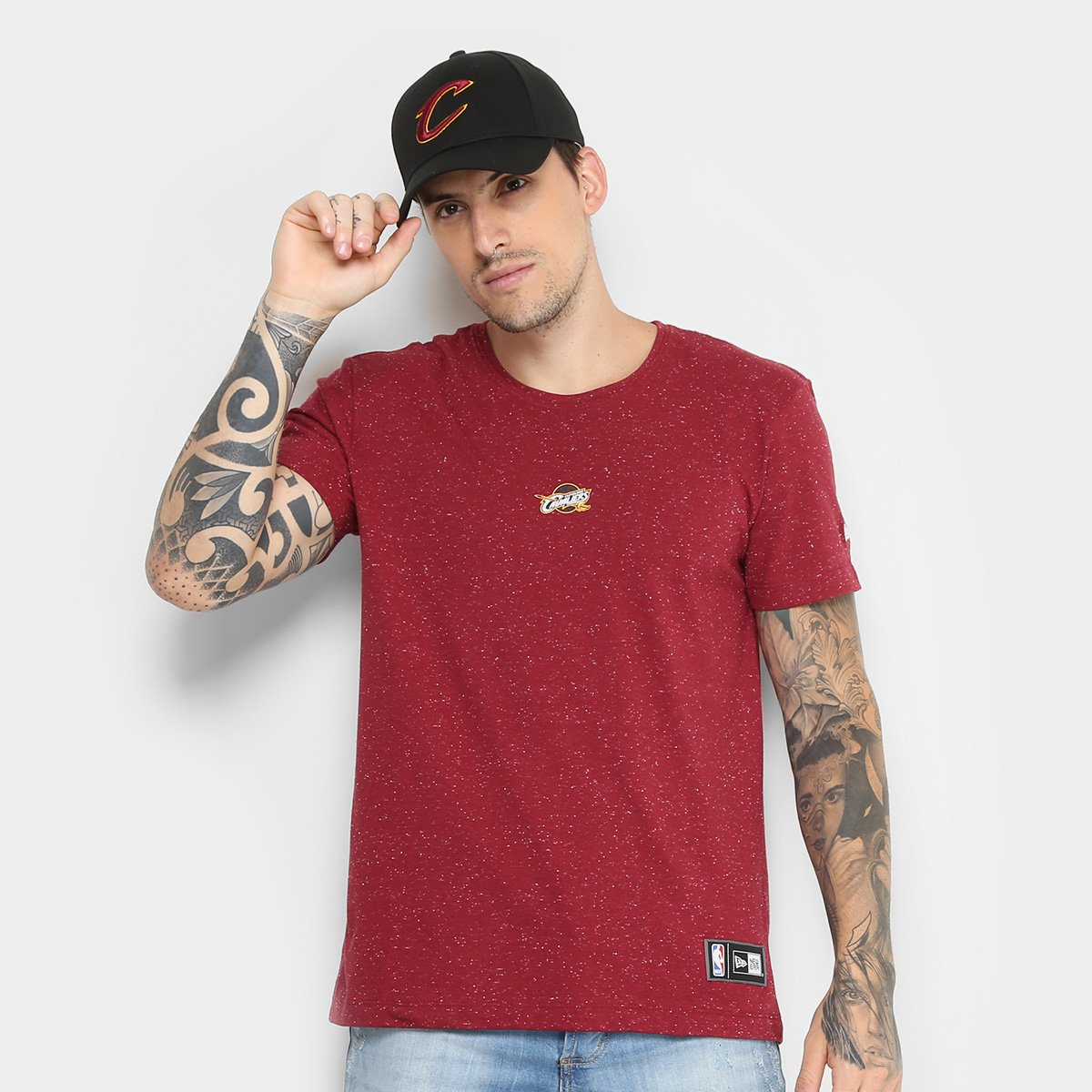 Camiseta NBA Cleveland Cavaliers New Era Mini Logo Masculina ... 0cc62237577f2