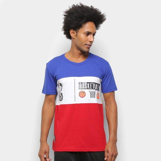 Camiseta NBA Color Block Cesta Masculina - Azul