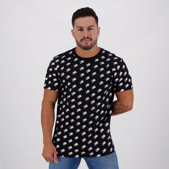 Camiseta NBA Full Print Mini Logo Masculina - Preto