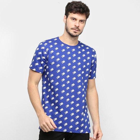 Camiseta NBA Full Print Mini Logo Masculina - Azul