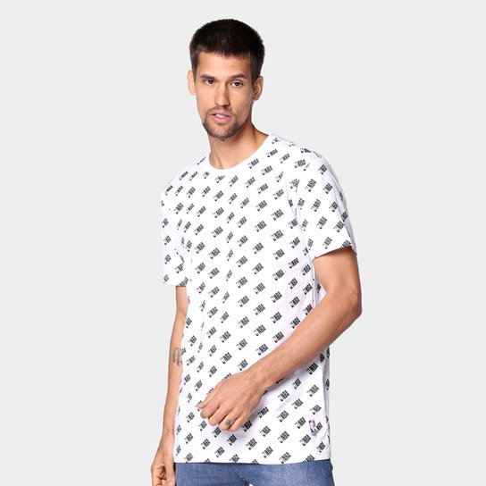 Camiseta NBA Full Print Mini Logo Masculina - Branco