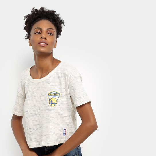 Camiseta NBA Golden State Warriors Cropped Shield Feminina - Areia