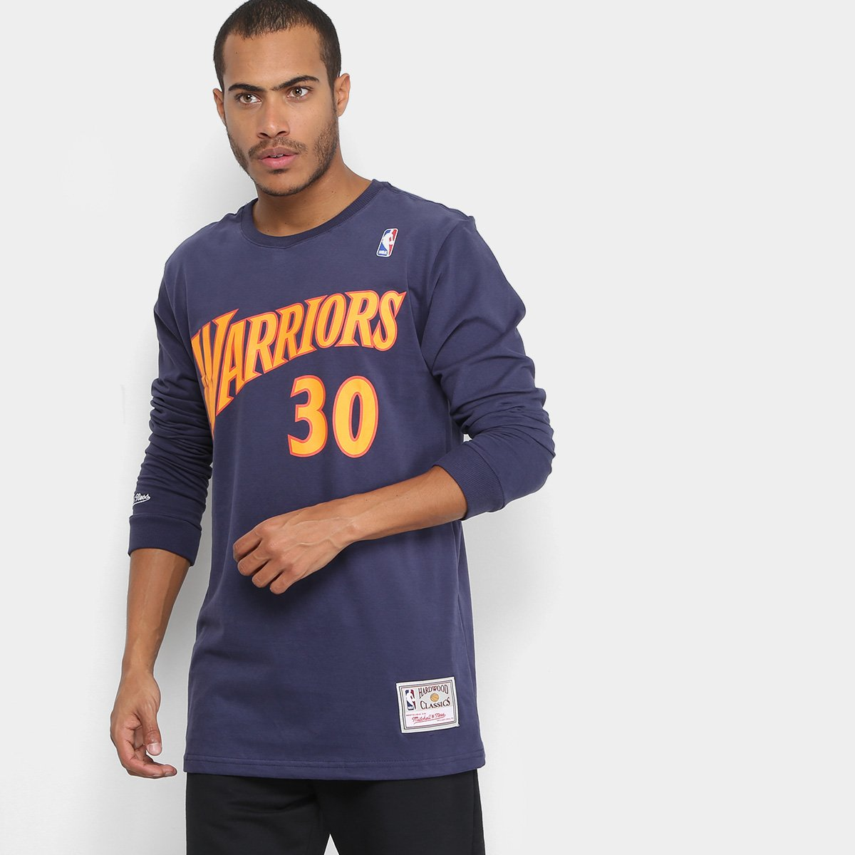 836237b1c Camiseta NBA Golden State Warriors Mitchell & Ness Manga Longa Stephen  Curry Masculina | Loja NBA
