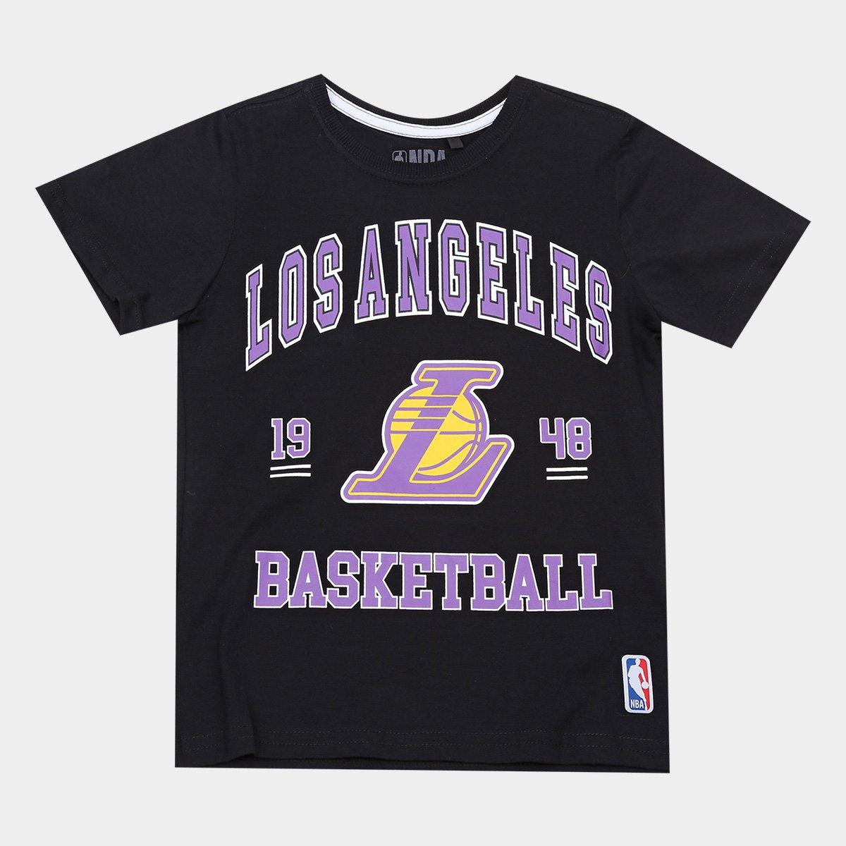 f91bc1958 Camiseta NBA Infantil Los Angeles Lakers College - Preto - Compre Agora