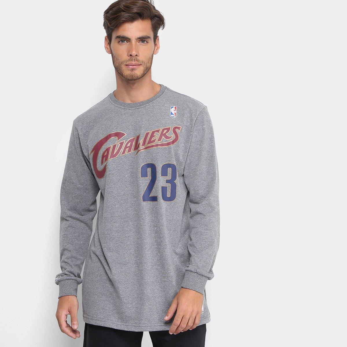 Camiseta NBA Lebron James Mitchell   Ness Manga Longa Masculina ... f8a506f9f7bdf