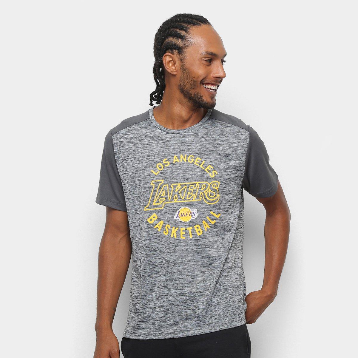 78bd8b0eb Camiseta NBA Los Angeles Lakers 17 Fio Tinto Mesh Masculina - Preto e Cinza  - Compre Agora