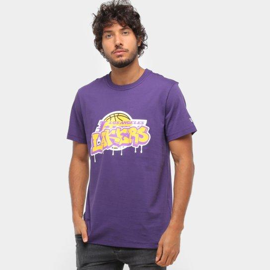 Camiseta NBA Los Angeles Lakers Arte Grafite Masculina - Roxo