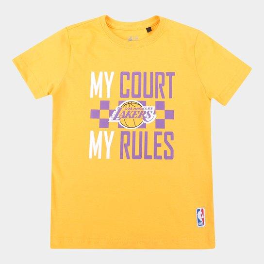 Camiseta NBA Los Angeles Lakers Juvenil Masculina - Amarelo
