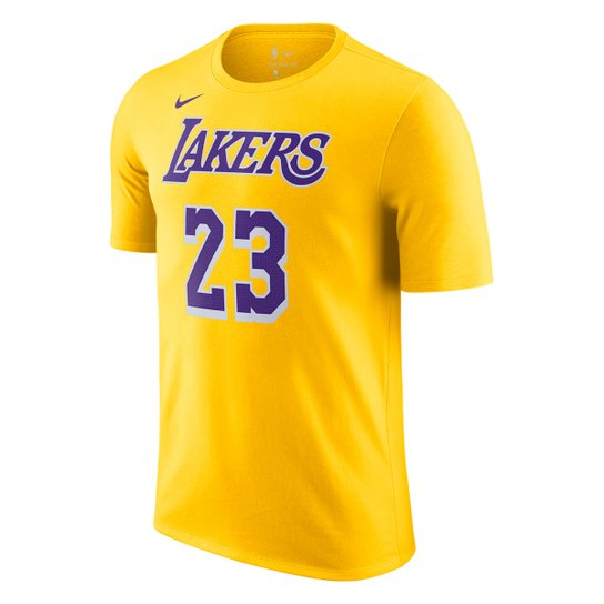 Camiseta NBA Los Angeles Lakers LeBron James Nike Masculina - Amarelo+Roxo