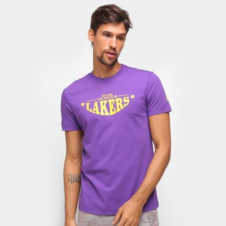 Camiseta NBA Los Angeles Lakers New Era College Convex Letter Masculina