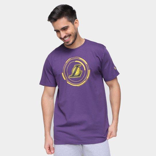 Camiseta NBA Los Angeles Lakers New Era Urban Tech Circle Masculina - Roxo
