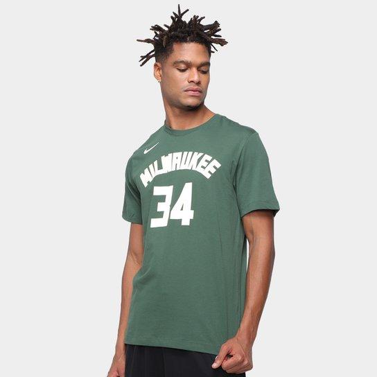 Camiseta NBA Milwaukee Bucks Giannis Antetokounmpo Nike Masculina - Verde