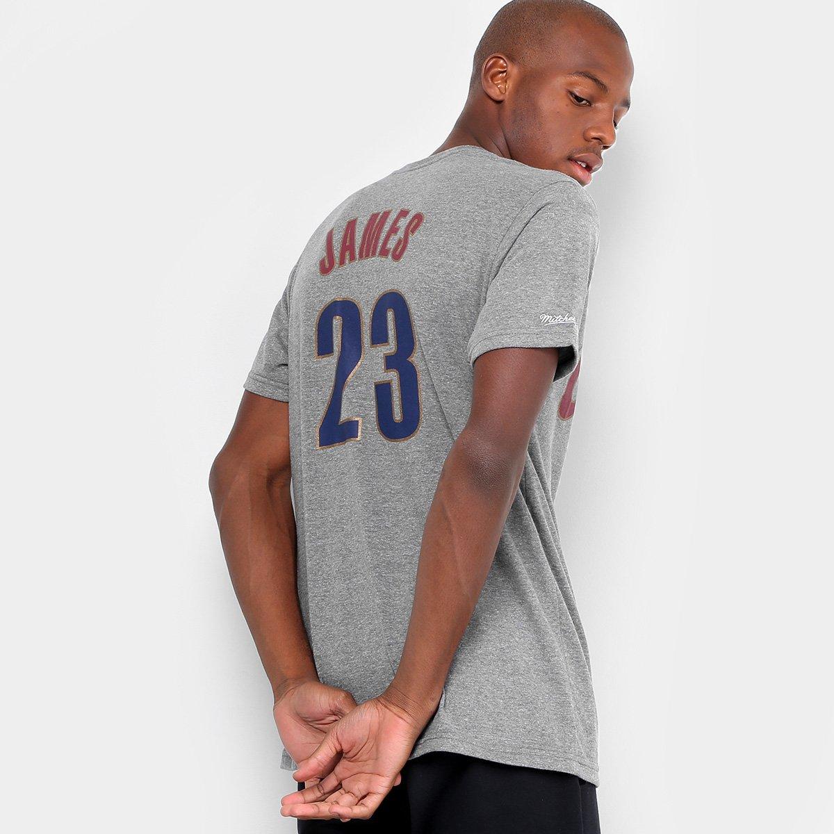 Camiseta NBA Mitchell   Ness Lebron James Masculina - Cinza - Compre ... 1433512e00199