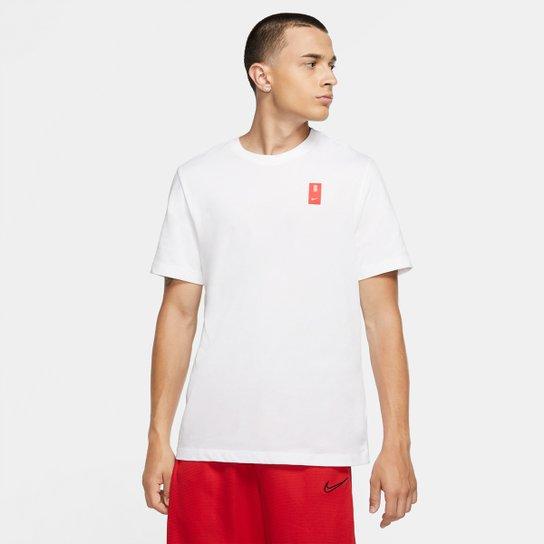 Camiseta NBA Nike Kyrie Irving Dri-Fit Logo Masculina - Branco