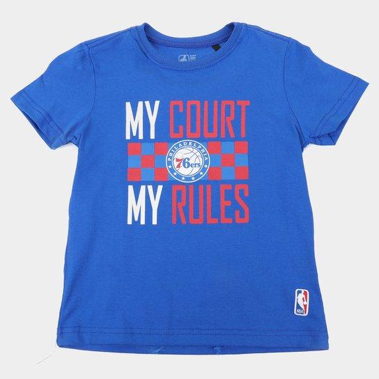 Camiseta NBA Philadelphia 76Ers Juvenil Masculina - Azul Royal