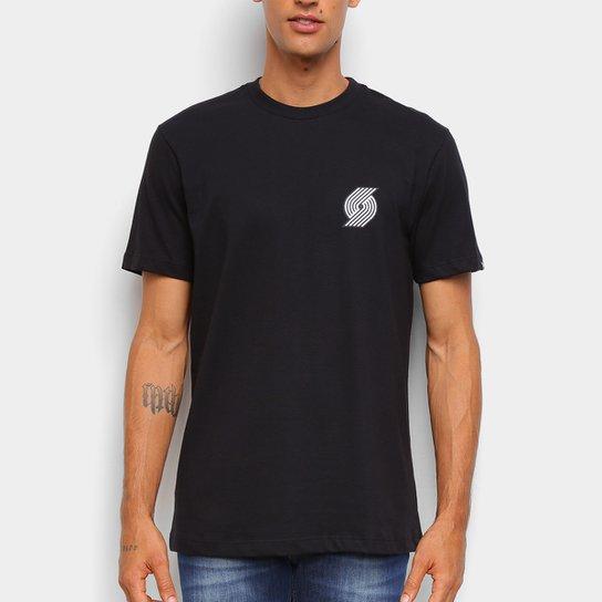 Camiseta NBA Portland Trail Blazers New Era Black Pack Logo Masculina - Preto