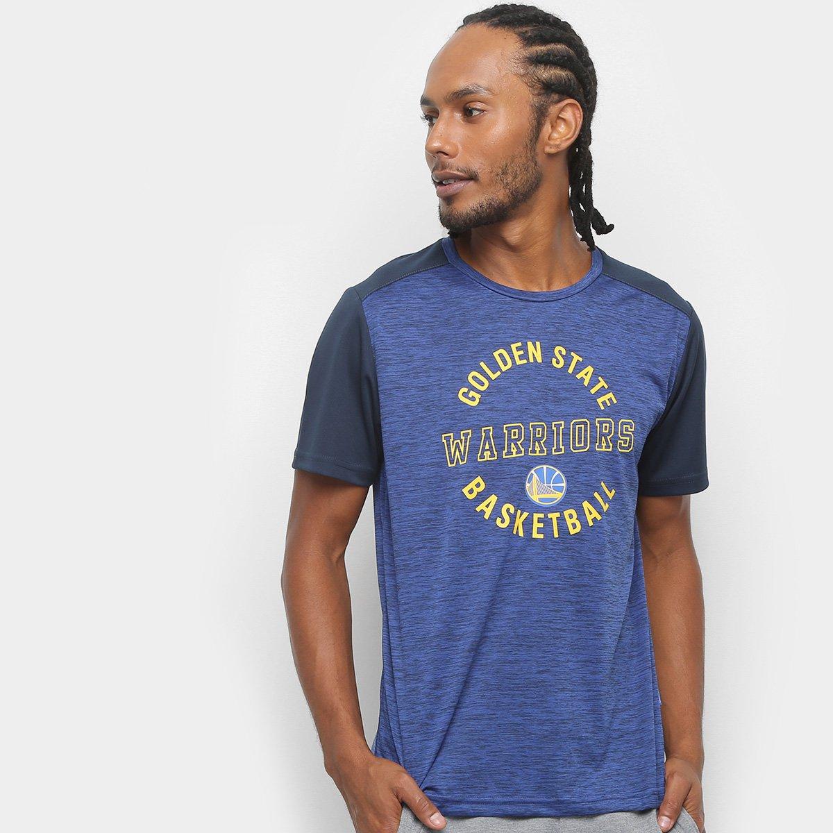 Camiseta NBA Warriors Fio Tinto Mesh 17 Masculina - Marinho e Cinza ... 7f232bce7532c