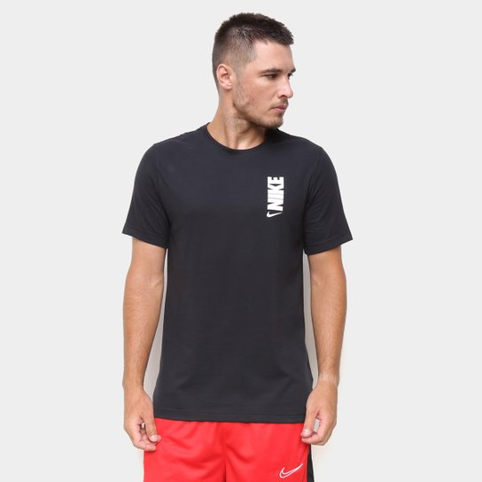 Camiseta Nike NBA Dri-Fit Extra Bold Masculina - Preto+Branco