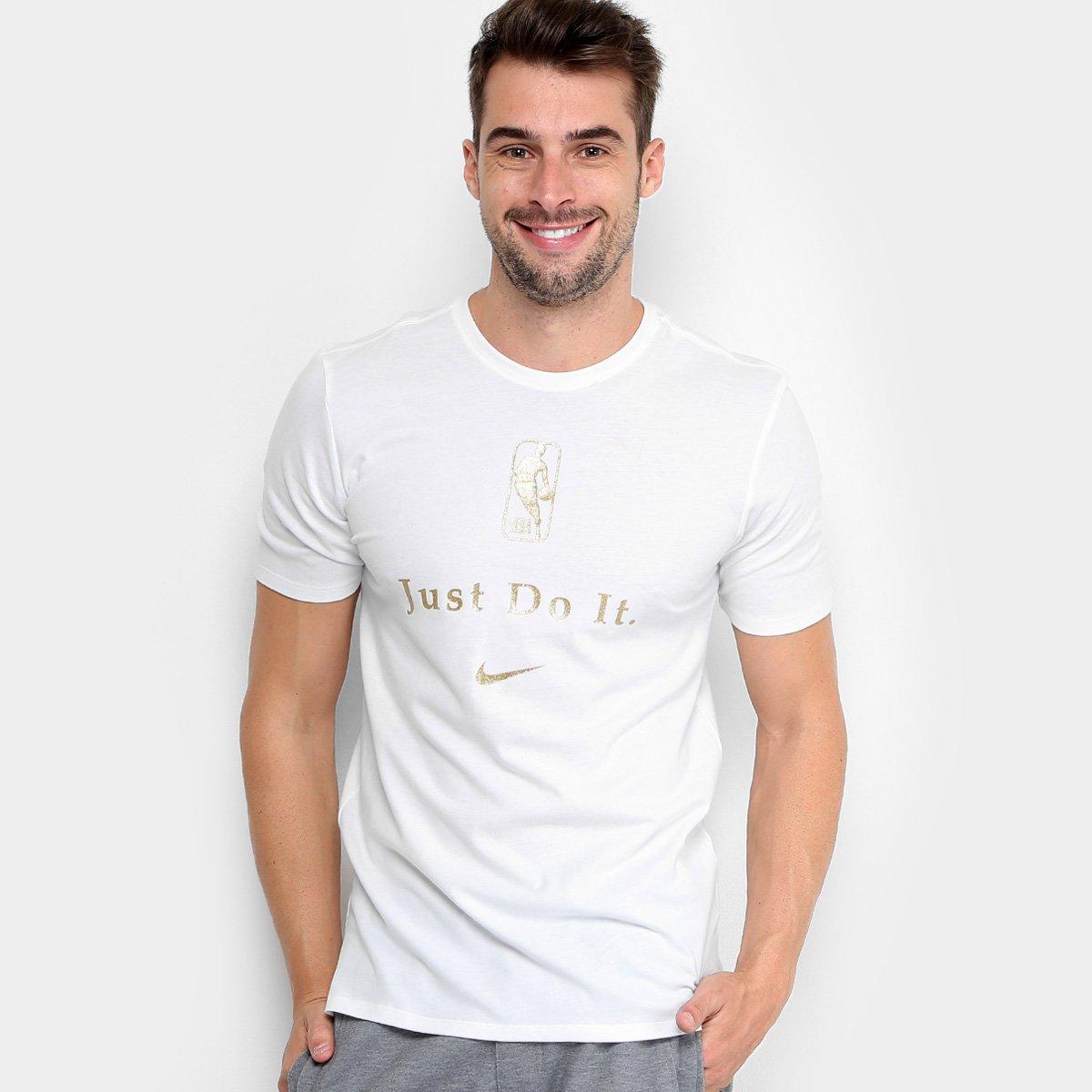 Camiseta Nike NBA Just do It Masculina - Branco e dourado - Compre ... 502e254f7e78c