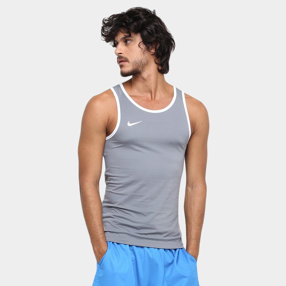 Camiseta Regata Nike SL Crossover - Cinza e Branco - Compre Agora ... a1a92149663