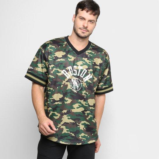 Camiseta Swingman Mitchell & Ness NBA Boston Celtics Masculina - Camuflado Verde
