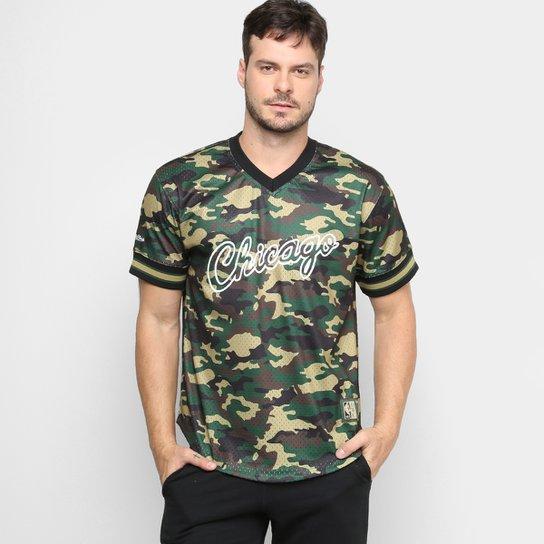 Camiseta Swingman Mitchell & Ness NBA Chicago Bulls Masculina - Camuflado Verde