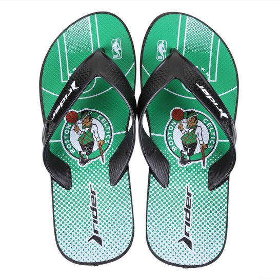 Chinelo NBA Boston Celtics Rider Street Bold Ad Masculino - Verde+Branco