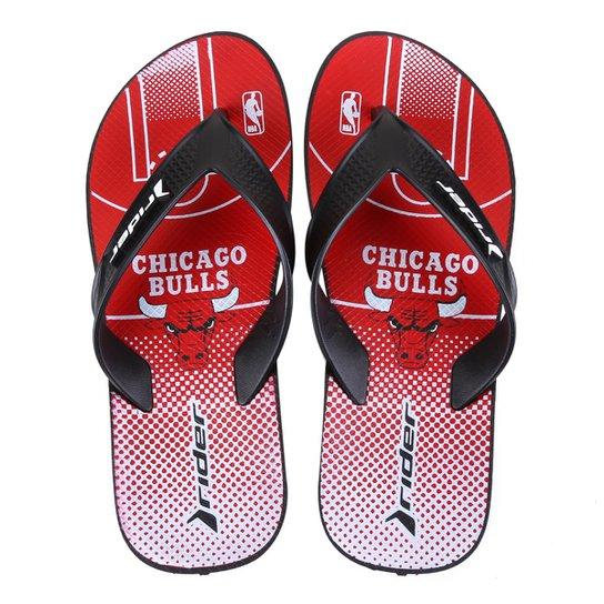 Chinelo NBA Chicago Bulls Rider Street Bold Ad Masculino - Vermelho+Branco