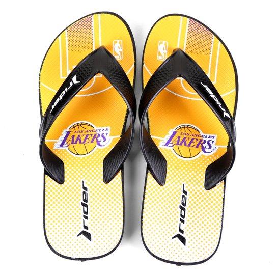 Chinelo NBA Los Angeles Lakers Rider Street Bold Ad Masculino - Amarelo+Roxo