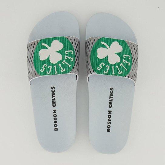Chinelo Slide NBA Boston Celtics Rider Full 86 Masculino - Branco+Verde