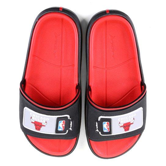 Chinelo Slide NBA Chicago Bulls Rider Masculino - Preto+Vermelho