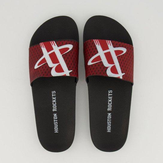 Chinelo Slide NBA Houston Rockets Rider Masculino - Preto+Vermelho