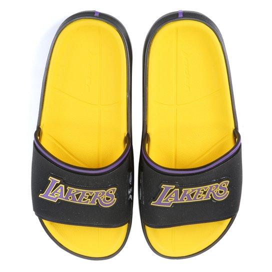 Chinelo Slide NBA Los Angeles Lakers Rider Masculino - Preto+Mostarda