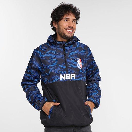 Jaqueta Corta Vento NBA Windbreaker Pixel Masculina - Preto+Azul