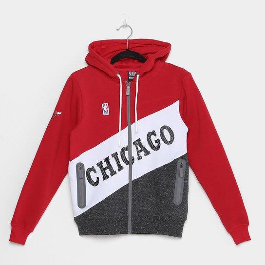 Jaqueta Infantil NBA Chicago Bulls Moletom Masculina - Vermelho