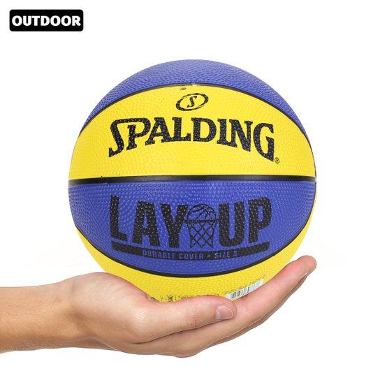 Mini Bola Basquete Infantil NBA Spalding Lay Up Tam. 3 - Amarelo+Azul